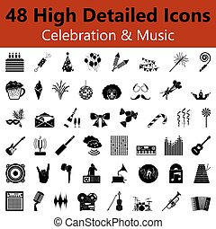 Celebration and Music Smooth Icons - Set of High Detailed...