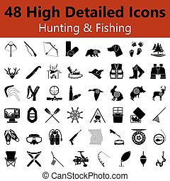 Hunting and Fishing Smooth Icons - Set of High Detailed...