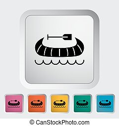 Canoe icon - Canoe Single flat icon on the button Vector...
