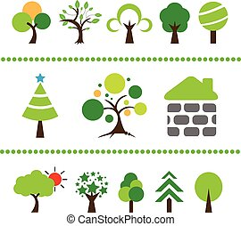 vector tree icon set