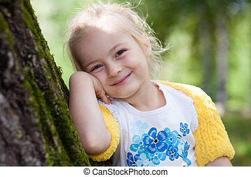 mignon, peu, girl, dans, tricoté, Boléro, poser, à, a,...