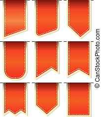Bookmarks. - Collection red bookmarks isolated on white...