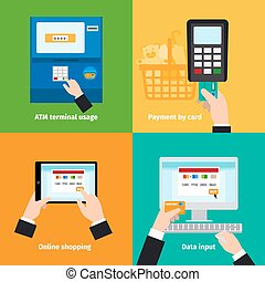 Credit plastic card usage. ATM, cashless payment and online...