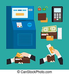 ATM Terminal Usage Deposit and withdrawal money icons