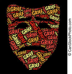 Grief Word Shows Broken Hearted And Anguish - Grief Word...