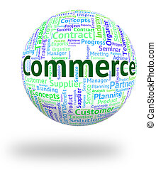 Commerce Word Represents Trade E-Commerce And Purchase