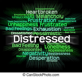 Distressed Word Shows Distressing Desperate And Wordcloud -...