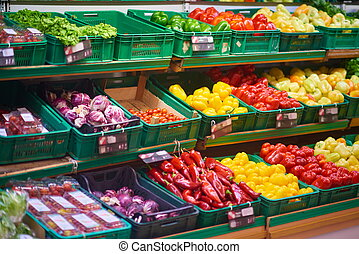supermarket vegetables - supermarket vegetable store food...