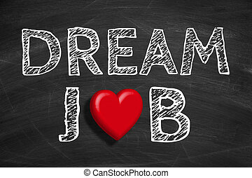 Dream Job - Text Dream Job is written on the blackboard...