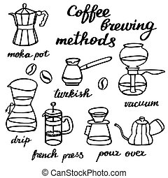 Coffee brewing methods set. Hand-drawn cartoon coffee...