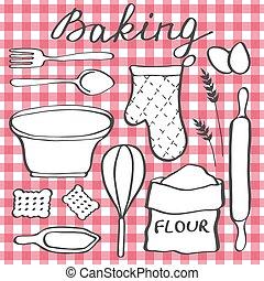 Baking set Hand-drawn cartoon utensils and ingridients...