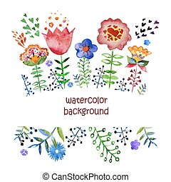 composition with pretty watercolor flowers