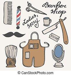 Barbershop set. Hand-drawn cartoon hairdressing stuff....