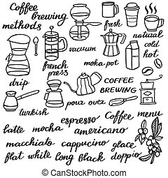 Big coffee set Hand-drawn cartoon coffee elements Doodle...