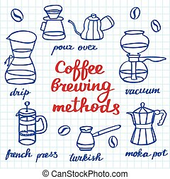 Coffee brewing methods set Hand-drawn cartoon coffee makers...