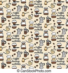 Coffee brewing methods Seamless pattern with doodle coffee...