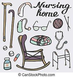 Nursing home set. Hand-drawn stuff for elderly home. Doodle...