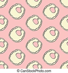 Tortellini. Seamless pattern with doodle kind of pasta....
