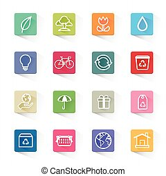 Green ecology icon set - This is flat color icons vector...