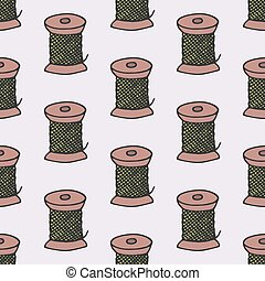 Spool of thread. Seamless pattern with hand-drawn cartoon sewing tools. Vector illustration.