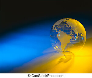 Plexiglas globe with blue and yellow background - Model the...