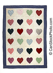 Heart quilt blanket - Colorful antique quilt blanket with a...