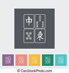 Mahjong. Single flat icon on the button. Vector...
