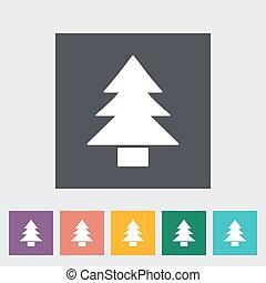 Conifer. Single flat icon on the button. Vector...