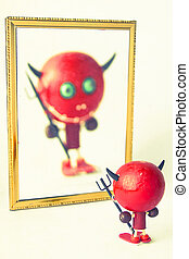 little devil in the mirror