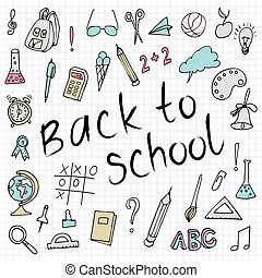 Hand drawn back to school doodles. Paper Background. Vector illustration. Hand drawing school items on a sheet of exercise book.