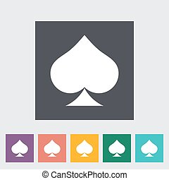 Card suit - Spades Single flat icon on the button Vector...