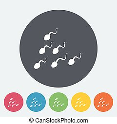 Sperm Single flat icon on the button Vector illustration