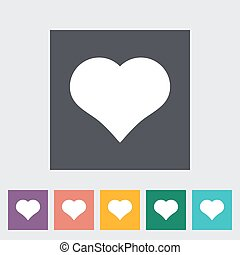 Card suit - Suit of heart Single flat icon on the button...