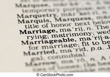 Marriage Concept - Extreme close up of the word MARRIAGE...