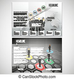 Vector set of tri-fold brochure design template on both sides. Professional business team standing over gray background with timeline and world map. Infographic pattern