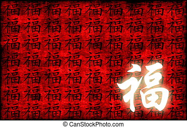 Prosperity Calligraphy on a Ancient Chinese Scroll