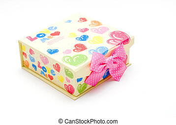 beautiful yellow gift box in white background