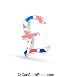 Pound currency gold symbol icon with flag of United Kingdom