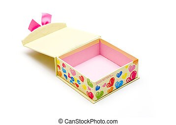opened yellow gift box in white background