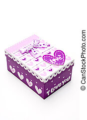 beautiful purple gift box in white background