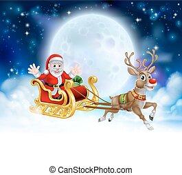 Santa, traîneau, en-tête,