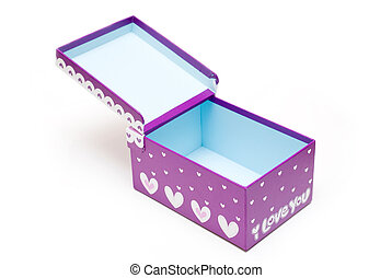 opened purple gift box in white background