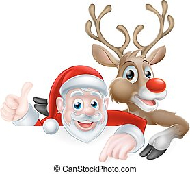 Cartoon Santa and Reindeer - Christmas illustration of...