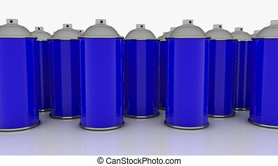 Color spray cans in blue color in rows