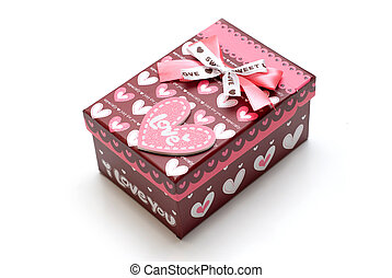 beautiful red gift box in white background