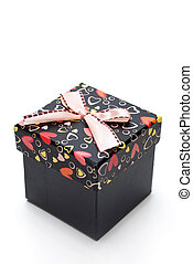 beautiful black gift box with hearts shape in white...