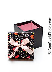 opened black gift box in white background