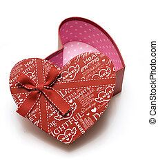 opened red heart gift box in white background