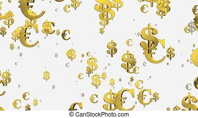 Flying USA dollar and Euro signs on white