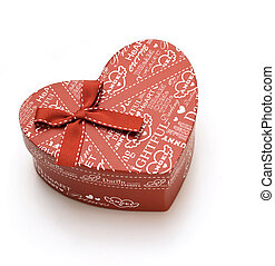 beautiful red heart gift box in white background